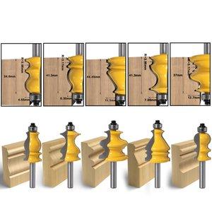5PCS 8 milímetros Shank Carcaça base Molding Router Bit Set CNC Linha faca Carpintaria cortador de Tenon cortador para madeira Power Tools cortador