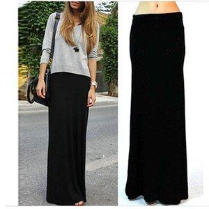 2019 New Female Skirts Women Solid Black Splice High Waist Maxi Skirt Full Length Long Skirt Stretchy Saias Femininas Faldas wholesale