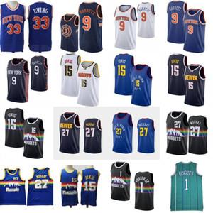 NCAA Patrick Ewing 33 RJ 9 Barrett Basketball Jersey Bleu Hommes 15 Jokic Jamal 27 Murray Bogues Michael Porter 1 T-shirt