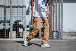 Bahar Yeni Büyük Casual Hiphop Kaykay Düz Gevşek Pantolon Mens Pockets Kargo Pantolon ss19