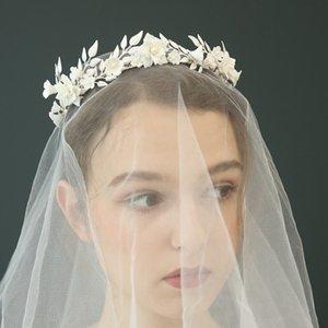 Joyería de la hoja de plata antigua Corona de novia Tiara Grecia venda del partido de boda delicado flor de porcelana de baile de pelo para las novias