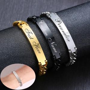 Bracelets d'étiquette d'identification en acier inoxydable de base pour hommes de 9 mm Personnaliser Nom Image