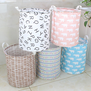 15 Styles Pattern Ins Storage Baskets Clothing Organization Canvas Laundry Bag Bins Kids Room Toys Storage Bags Bucket VT0273