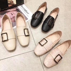 Gorgeous2019 Single Clothes Deux Chaussures Angleterre School The Wind All-Match en cuir souple Low avec Pearl Square Clasp Chaussures Baotou Ban Tuo