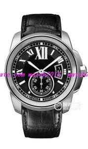 5 Stil Lüks Yeni Paslanmaz Çelik Otomatik Mens Watch W7100041 Siyah Deri Bileklik Band erkek Saatler Saatı