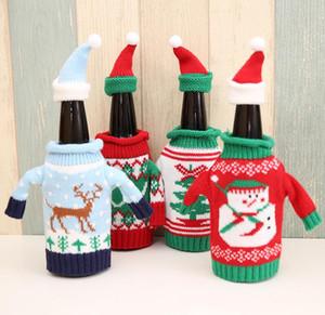 Рождество High Grade Вязаного Рождество бутылка вина свитер Красной бутылка вина Set Нового год Рождество Главного Званый ужин Декор