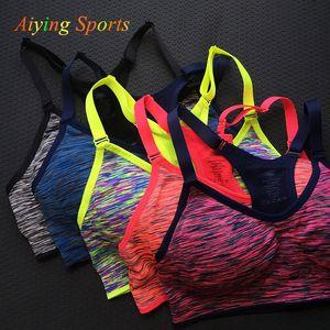 Quick Dry Sports Bra Женщины проложенный Wirefree Регулируемая Shakeproof Фитнес Push Up Нижнее белье Бесшовные Йога Бег Tops