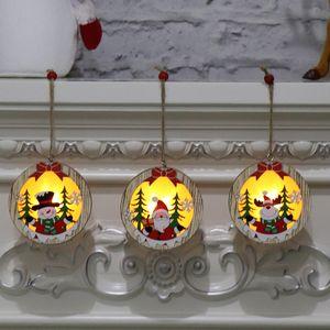 Nouveau Pendentifs En Bois Lumineux En Bois Étoile Cadre Rond Lampe Lumineuse Arbre De Noël Ornement Suspendu Pendentif Ornements Décoration de Fête