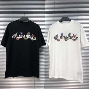 Beleza slogan borboleta maré PALM ANJOS PA perder esportes casuais T-shirt homens e mulheres em torno do pescoço manga curta