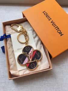 Luxo Romântico Steeless Flor Quatro Folhas Keychain Chaveiro Designer Key Bag Car Anel Charme Keychain For Women Jóias Acessórios presente