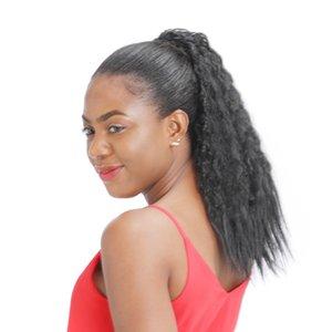 Kinky Droit humain Cheveux Ponytail Brésilien Vierge Ponytail Extensions cheveux avec clips gros bon marché Yaki droite Ponytail 120g Drawstring