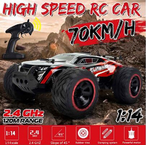 2020 New 01:14 70 km / h 2WD RC remoto monstro Controle Off Road Racing Cars Veículo 2.4Ghz Crawlers elétrica RC Ca