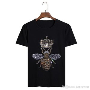 Bee Crown Diamond Design Le Summer T-shirts ras du cou à manches courtes en coton T-shirts Hommes Casual Taille Soft Plus T-shirts Tops
