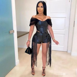 Felyn 2020 Novelty Chic Design two pieces PU Women Set Off Shoulder Tops And Tassel Shorts Summer Sexy Night Club Outfits