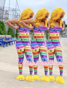 LL6237 Frauen-Overall für 19 europäische und amerikanische Hot Frauen Sexy Regenbogen Digital Print Jumpsuit208686