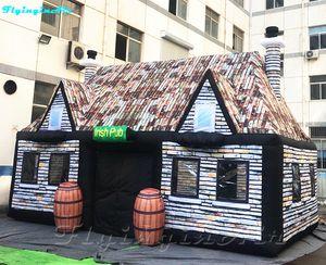 8m gonflable Retro Bar Tente Pub Portable avec impression Mur de briques