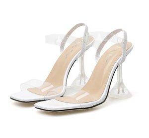 Hot Sale-Fluor saltos amarelo claros PVC saltos transparentes sandálias de luxo de designer sandálias vêm com o tamanho da caixa de 35 a 40