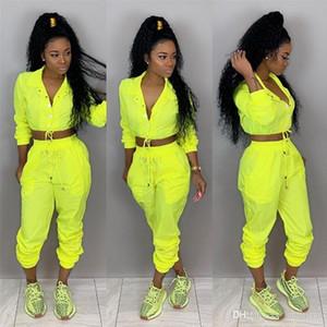 Primavera delle donne 2pcs pantaloni solidi di colore Sport Impostare con il tasto femminile tuta Abbigliamento casual