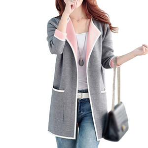 5xl Sonbahar Kış Ceket Kadın Mont 2019 Artı Boyutu Örme Hırka Ceketler Kadın Giyim Rahat Cep Ceket Jaqueta Mujer T190817