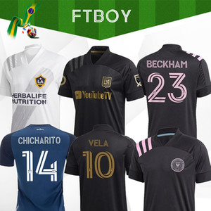 Yeni 2020 2021 LAFC Carlos Vela Futbol Formalar 2021 Ev Los Angeles FC Inter Miami Beckham Siyah LA Galaxy Chicharito BEYAZ Futbol Gömlek