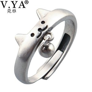 В.Я. 925 Sterling Silver Ring Cute Cat Дизайн шарик шарики кольцо для женщин Регулируемого размером кольца Моды ювелирных изделий