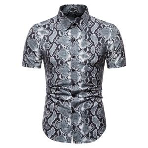 2020-Sommer-neuer Groß Kurzarmhemd Snakeskin Muster-beiläufige Mens Halbarm-Shirt Imitation Alligator