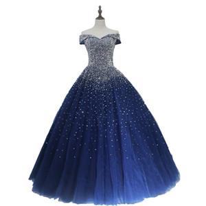 Bleu marine Robes de Quinceanera Robes de Bal Princesse Puffy Sombre Bleu Royal Tulle Mascarade Doux Robes Robes Dos Nu Robe de Bal DH4065