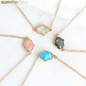 Resina azul colar de hamsa pedra de resina mão fatima pingente colares corrente de ouro choker para mulheres moda jóias