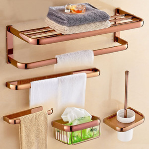Rose Gold Color Brass Square Bathroom Accessories Towel Shelf Towel Holder Toilet Paper Holder Wall Mounted Bath Hardware Sets T200425