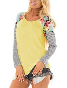 Casual Autumn long sleeve stripe floral sleeve women raglans shirts O neck floral shoulder stripe sleeve solid body women pullover tunic