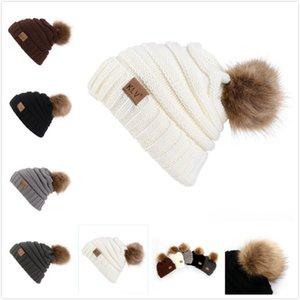 Nedensel Kadınlar Kış Örgü Şapka Sevimli Kadın İmitasyon Raccoon Saç Beanie Crochet Hat Örme Sıcak Kadınlar Moda Aksesuarları Caps