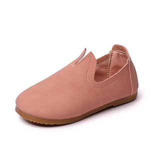 2019 autumn new fashion pink leather leather ribs soft men and women children leisure sports princess leather shoes girls prince