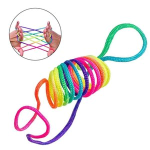 Kids Rainbow Colour Fumble Finger Thread Rope String Game Developmental Toy Puzzle Educational Game for Children Kids