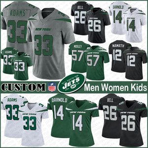 NY 33 جمال ادامز الجديدة لكرة القدم الفانيلة نيويورك الرجال مخصص للنساء الاطفال جت 14 سام Darnold 26 LeVeon بيل 28 كورتيس مارتن 12 جو ناماث 57 موسلي