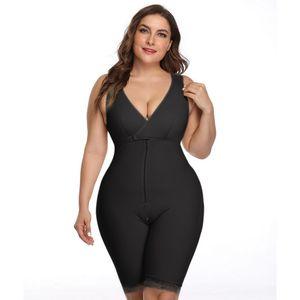 Mulheres Plus Size alta compressão completa bodyshapers Cinturão Clipe Zip Bodysuit Vest Tummy Controle pós-parto Recuperação Slimming Body Shaper S-6XL