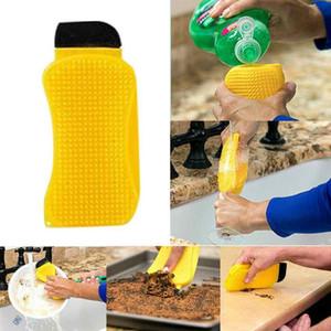 3 في 1 سيليكون الاسفنج فرشاة غسل صحن الغسيل تنظيف فرش الصابون السائل سيليكون مجرفة متعددة الوظائف أداة مطبخ ZZA2308