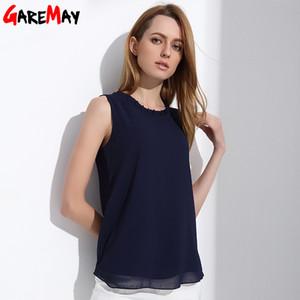 Camicia GAREMAY chiffon delle donne Estate cime bianche senza maniche Camicetta per le donne vestiti eleganti Ruffle Camicie Vintage femminili