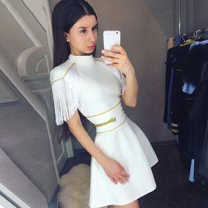 Pre-vendita Adyce 2018 nuove donne di estate vestito dalla fasciatura sexy nappa manica corta Club vestito abiti Celebrità elegante partito
