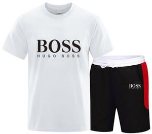 Eşofman Erkek 2020 Erkek Giyim Spor Seti Spor Yaz Yazdır Erkekler Şort + T gömlek Erkekler Suit 2 adet beyaz siyah ayarlar