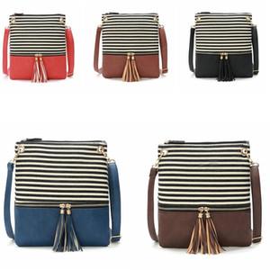 5styles Stripe Tassel Saco Tassel Crossbody Bag Canvas Handbag Mulheres senhora joint listrado Praça mini-moda borla pendente Bag FFA2423 aba