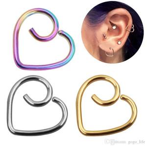 Kadınlar paslanmaz çelik Kalp Şekli Vidalı saplama Küpe Piercing Takı Tragus Küpe Kıkırdak Helix Kulak Kemik Tırnak Burun Stud
