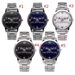 Trump 2020 Erkek Kadın Saatler Mektupları Retro Kuvars Bilek İzle 37 mm Paslanmaz Çelik Kayış saatı Otomatik Hareket SL39 seyretmek yazdır