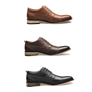 Fashion Designer mens Dress Shoes Genuine Leather Lace-up Loafers Gentleman Business Shoes Business Party Shoes Wedding flats With Box