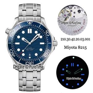 Neuer Antrieb 300M 210.30.42.20.03.001 Stahl-Gehäuse Blau Lünette Blaue Beschaffenheit Dial Miyota 8215 Automatik Herren-Uhr-Edelstahl-Uhren Puretime