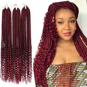 6Packs Wavy Goddess Faux Locs Crochet hair 22 Inch long faux locs braids Soft hair with curly ends 20Roots 100g