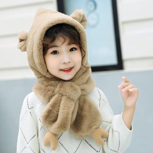 Baby cap and scarf set for children winter warm plush hat solid color beanie baby boy's earmuff photography scarf set