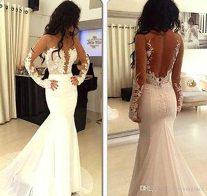 2019 New Backless Mermaid Evening Dress Jewel Illusion Long Sleeves African Formal Wear Party Gown Custom Made Plus Size
