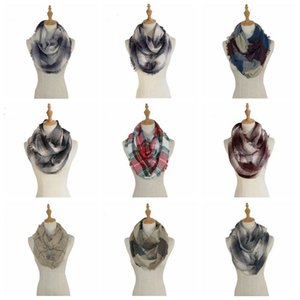 Plaid Infinity Loop Scarves Check Tassel Snood Neckerchief Girls Grid Wraps Shawl Cashmere Collar Lattice Neck Scarf Winter Pashmina C6150