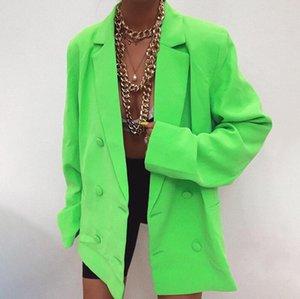 Giacca casual doppio petto Blazer a maniche lunghe Loose Women Coat 2019 Autunno Inverno Femminile Streetwear Over Size Inoltre Abbigliamento
