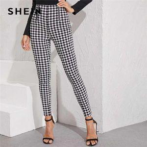 Shein Preto E Branco Zipper Front Gingham Print Skinny Preppy Pants Women Autumn Streetwear Ladies Basic Long Stretchy Trousers1